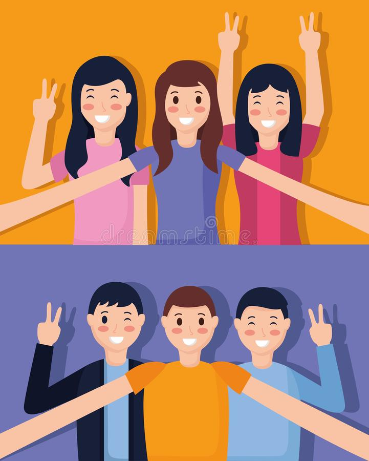 People taking selfie. Posing gesture vector illustration stock illustration