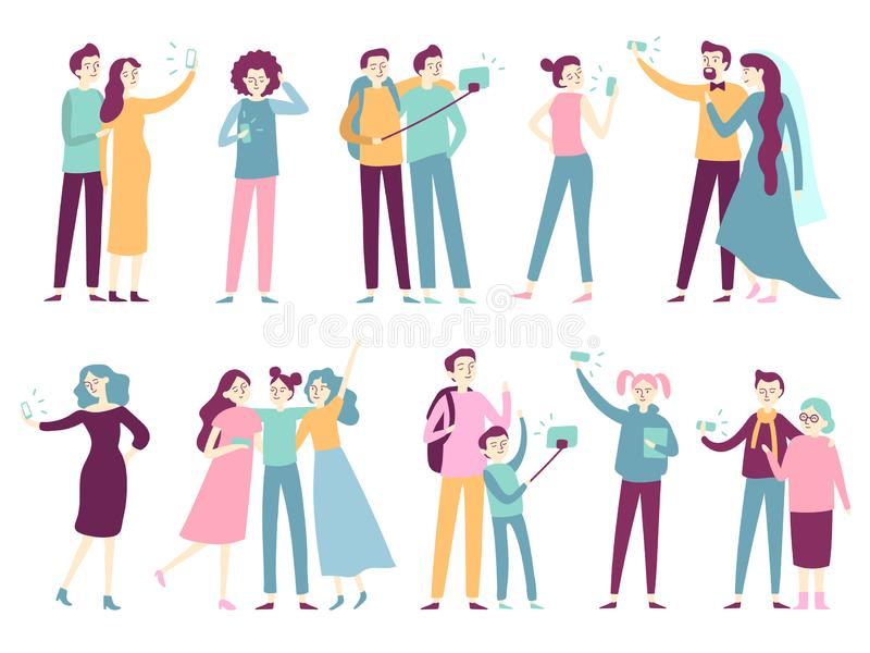 People taking selfie on smartphone. Men taking photos on mobile camera, women posing for photo on smartphones modern royalty free illustration