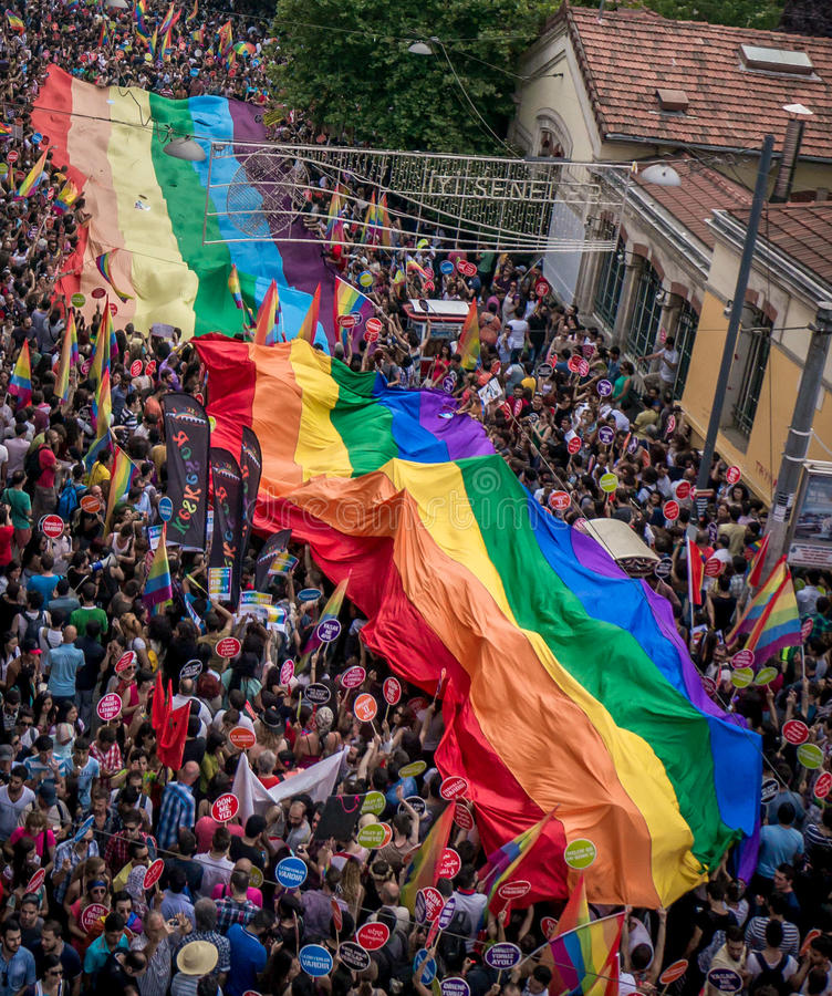 People in Taksim Square for LGBT pride parade royalty free stock image