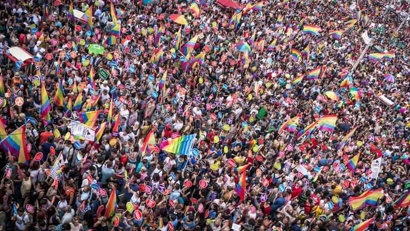 People in Taksim Square for LGBT pride parade stock photography