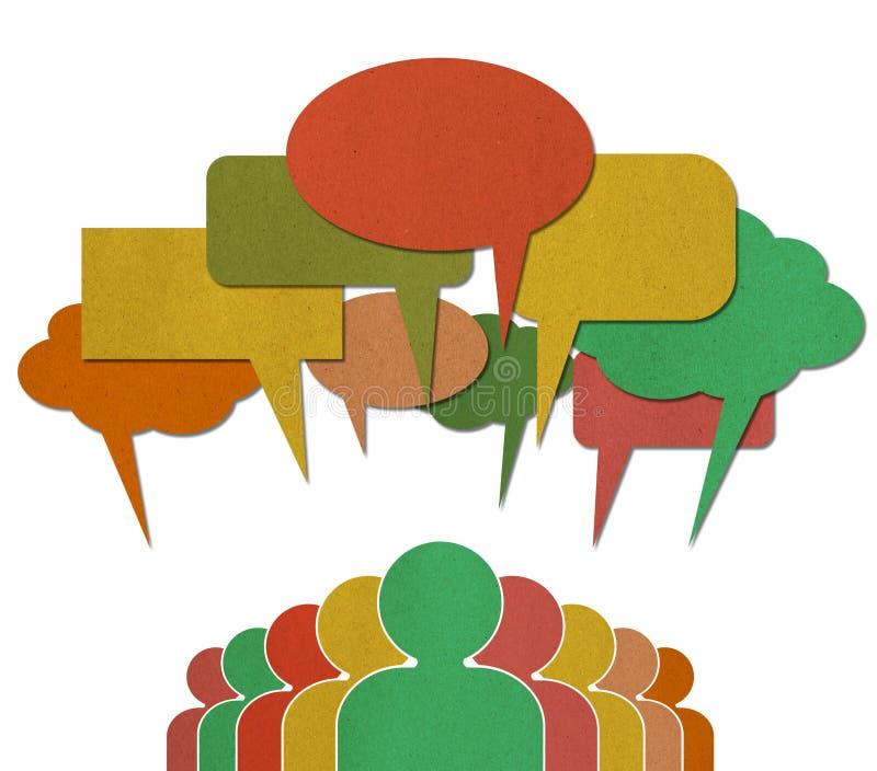 People talk in colorful speech bubbles