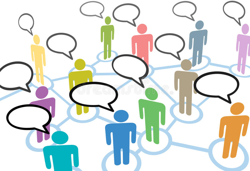People talk social speech network connections. A group of diverse people talk in social media speech communication network connections stock illustration