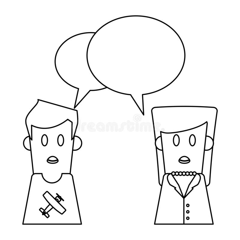 People Talking Cartoon In Black And White Stock Vector Illustration Of Avatar Human 134312602
