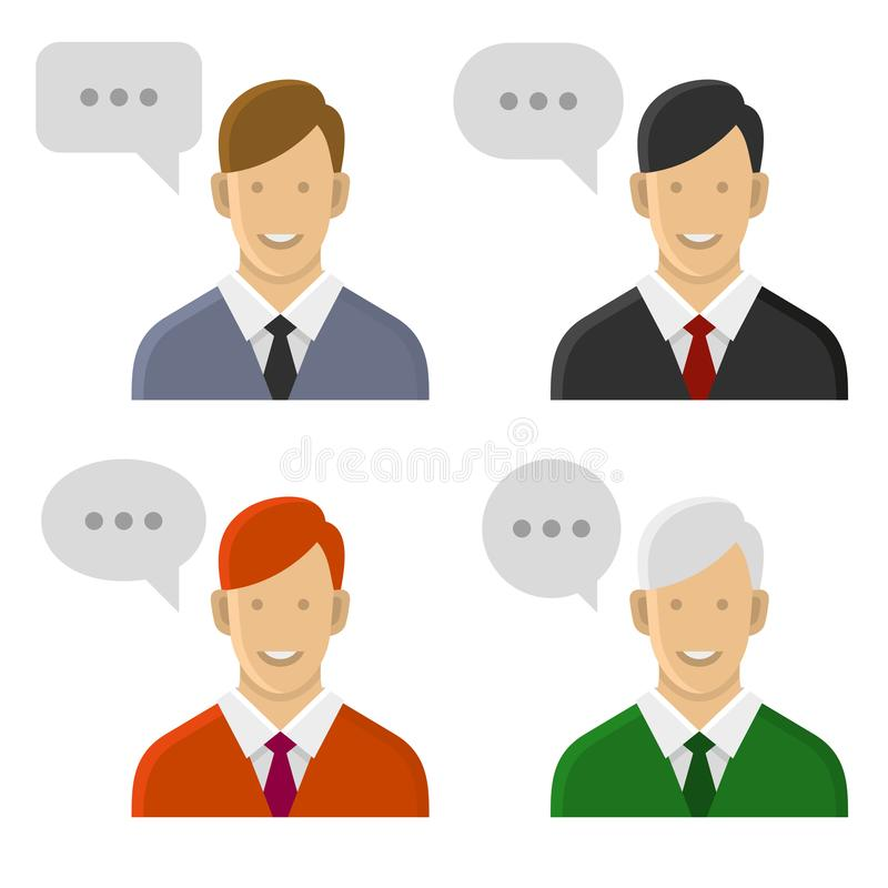 People Talking Icon Set. Man with Text Bubbles. Vector stock illustration