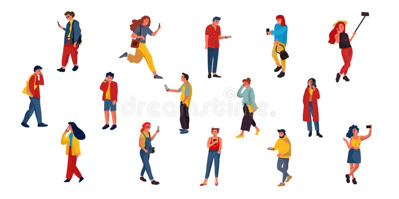 People talking on phone. Flat characters texting listening and talking with smartphones. Vector illustrations happy vector illustration