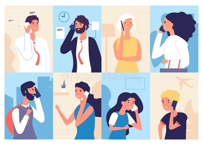 People talking phone. Men and women calling by telephone. Communication and conversation with smartphone vector vector illustration