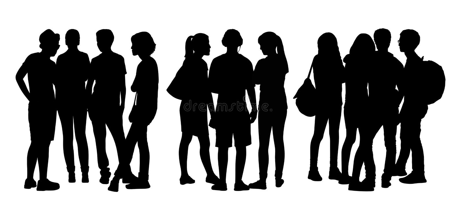 People talking to each other silhouettes set 6 vector illustration