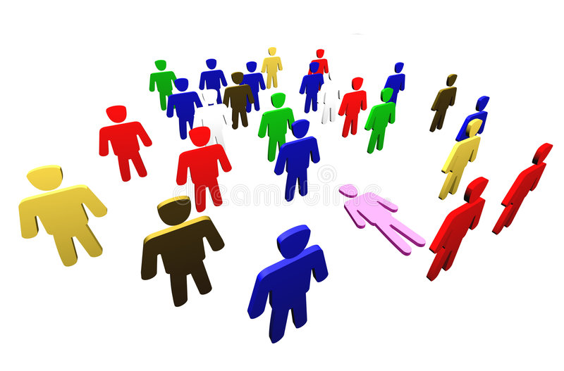 People team. Colorful people. Diverse men in team. Diversity concept stock illustration