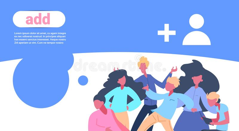 People team add new user concept man woman communication flat copy space horizontal vector illustration