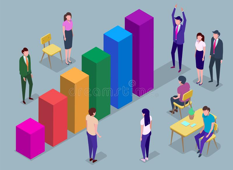 People in a team build a pay chart, interact with graphs. Business, workflow management, office situations. Data analysis, and office situations. Infographics royalty free illustration