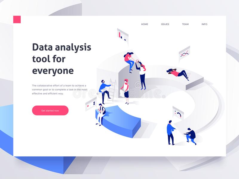 People in a team build a pie chart and interact with graphs. Landing page template. 3d isometric illustration stock illustration