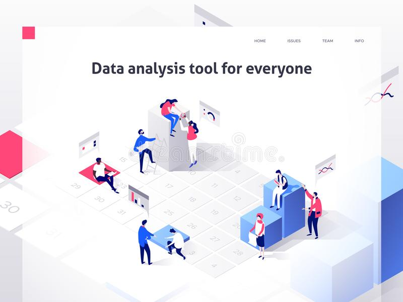 People in a team build a time schedule and interact with graphs. Landing page template. 3d isometric illustration vector illustration