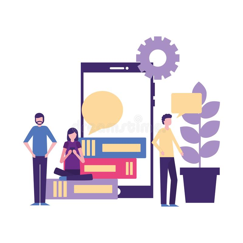 People team group mobile books and plant. Vector illustration stock illustration
