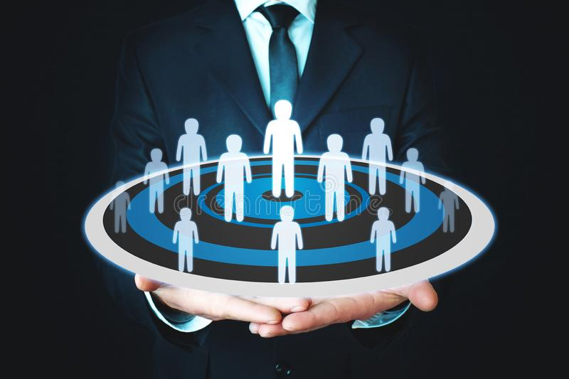 People team on target. Concept of business, leadership, success, teamwork, goal royalty free stock photo