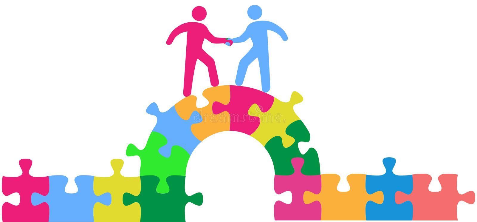 People team up climbing bridge to deal. Two people team up climbing bridge to join in a merger make a deal or collaborate royalty free illustration