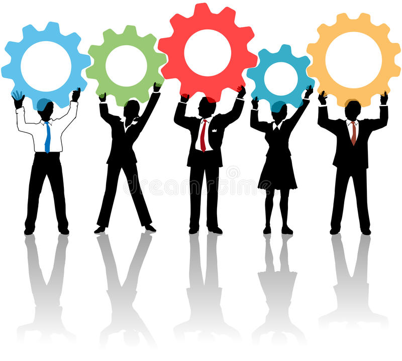 People team up technology solution gears. Team of business tech people hold up technology gear collaboration solution vector illustration