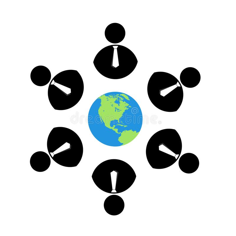 People team work together union black color people work together logo with tie,business people logo with globe royalty free illustration