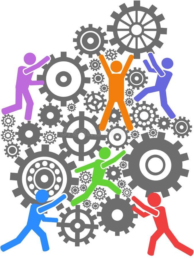 People teamwork gears background vector illustration
