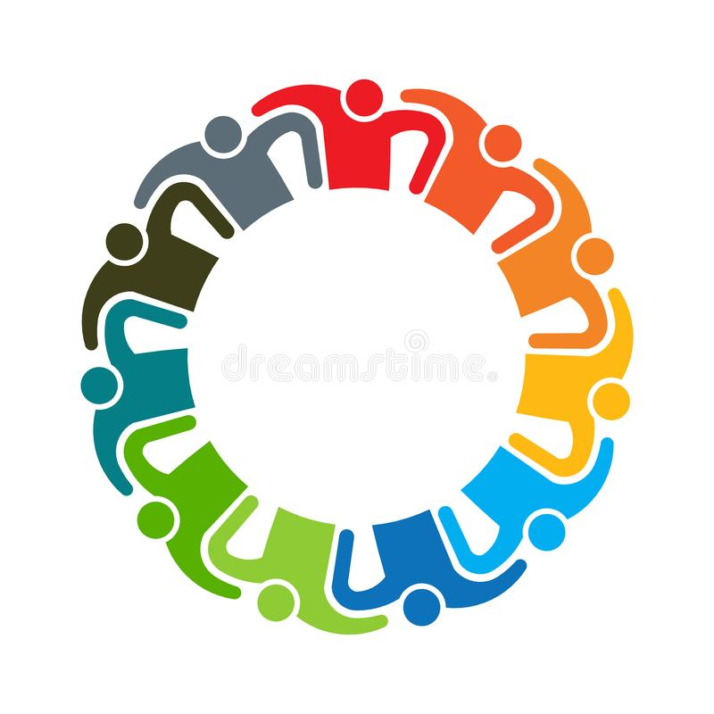 People Teamwork Eleven Players United Vector illustration. People teamwork logo. Group of eleven persons royalty free illustration