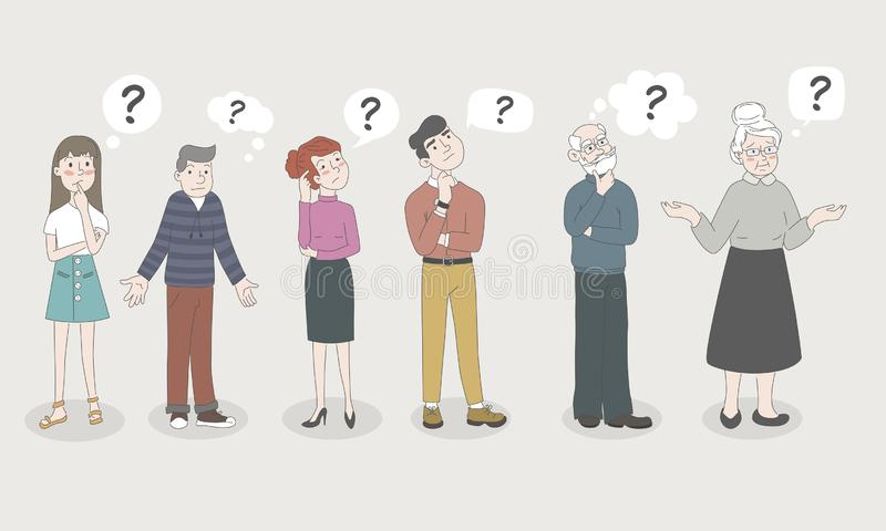People - Teen Girl, Boy, Woman, Man, Old Men, Old Woman - are Shrugging, Thinking Confused with a Curious Expression - I royalty free stock photos