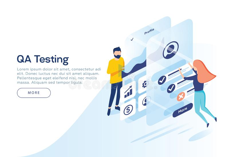 People testing the interface and usability of a mobile application. Isometric illustration. Landing page concept. People testing the interface and usability of vector illustration