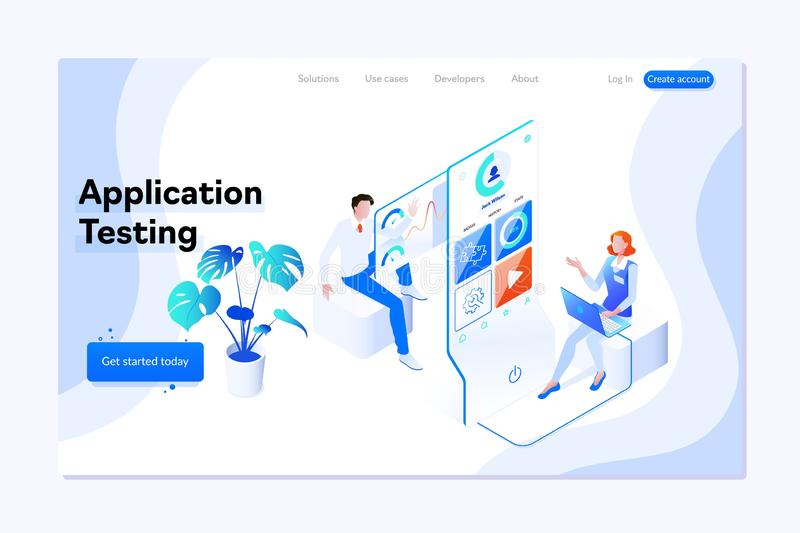 People testing the interface and usability of a mobile application. Landing page concept.3D Isometric illustration. vector illustration