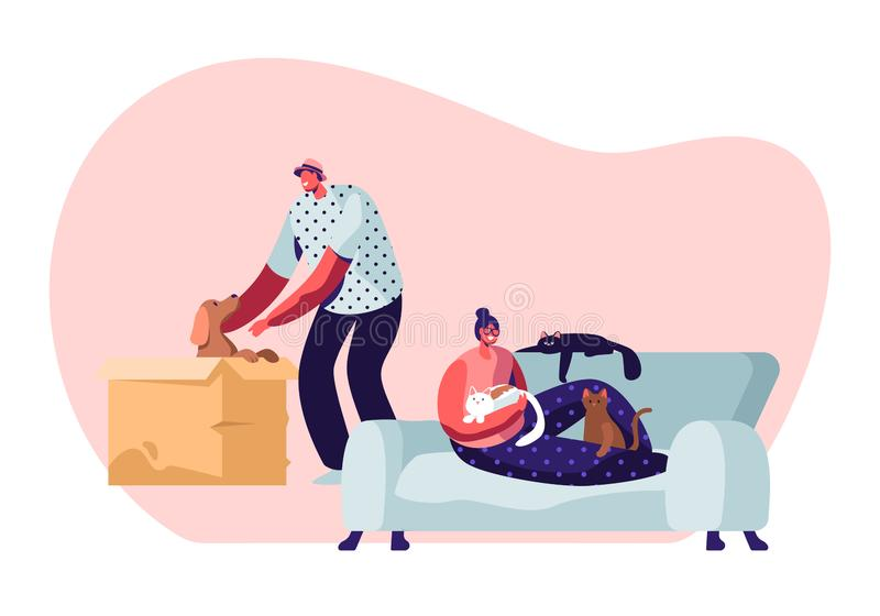 People and their Pets. Happy Cheerful Man Find Little Puppy in Cardboard Box, Taking him on Hands, Woman Sitting on Sofa at Home. With Many Cats around. Love to vector illustration