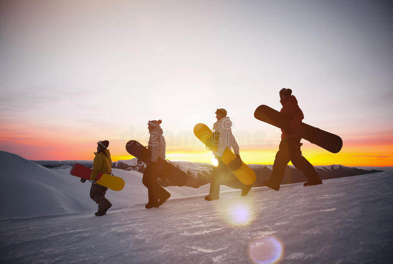 People on their way to snow boarding Concept stock images
