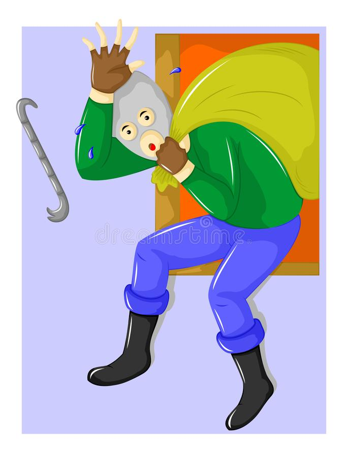 People thief. Thieves are running away from windows stock illustration