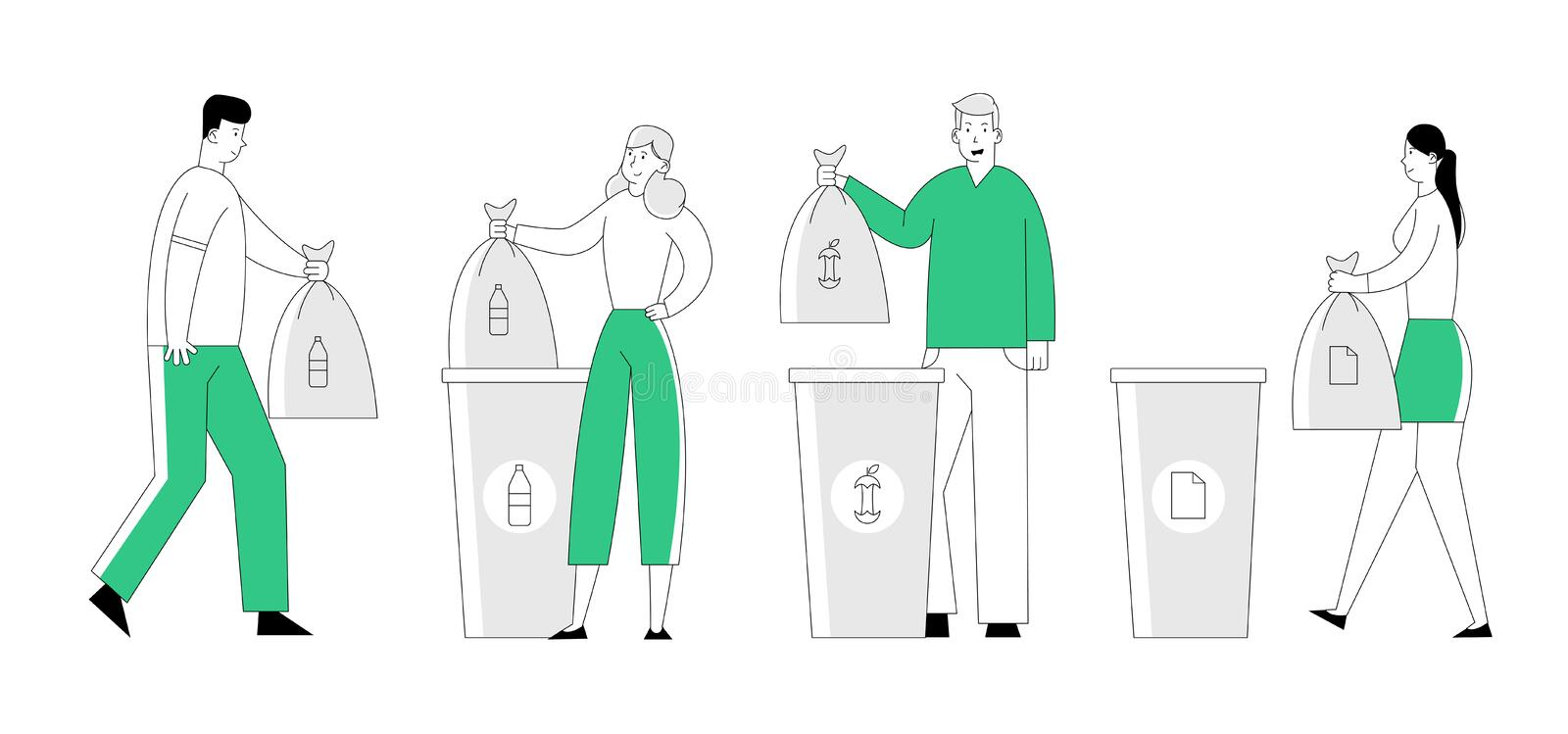 People Throw Garbage into Recycling Containers and Bags. Men and Women Collecting Trash, Recycle Environmental vector illustration