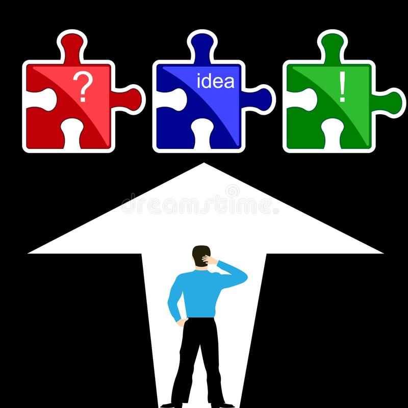 People to the idea. Man thinking in front of the puzzle with question marks, exclamation points, and words idea. Flat design. Vector illustration stock illustration