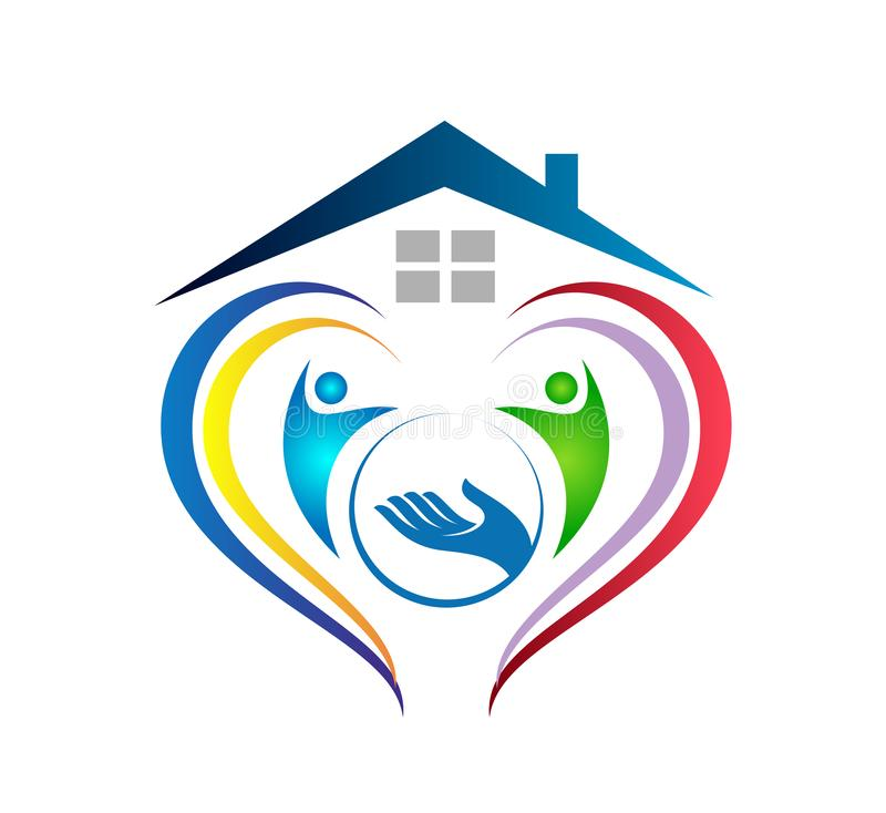 People together with home holding hands icon family union, love care in hands logo. People together with home holding hands icon family union, home love care in stock illustration
