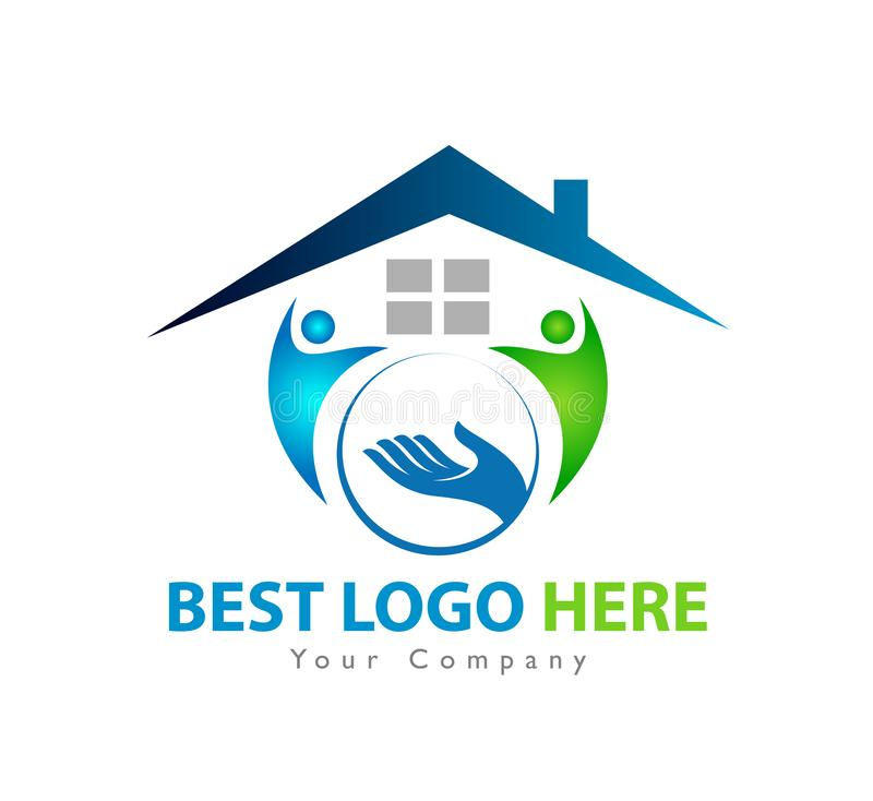 People together with home holding hands icon family union, love care in hands logo. People together with home holding hands icon family union, home love care in vector illustration