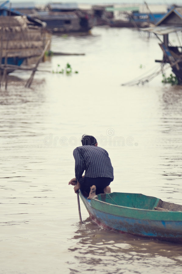People from Tonle Sap. Cambodia stock photo