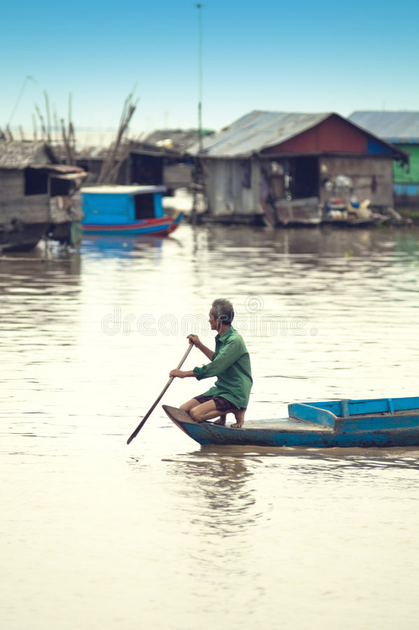 People from Tonle Sap lake. Cambodia royalty free stock photo