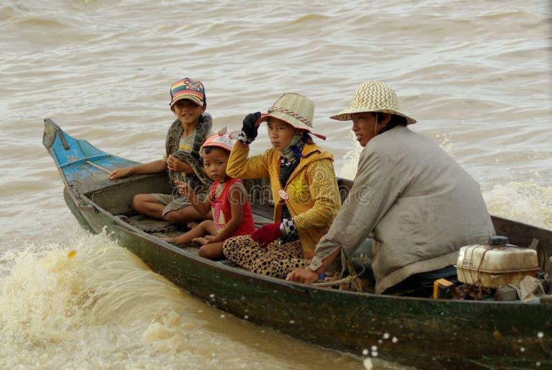 People from Cambodia. Tonle Sap Lake. stock image