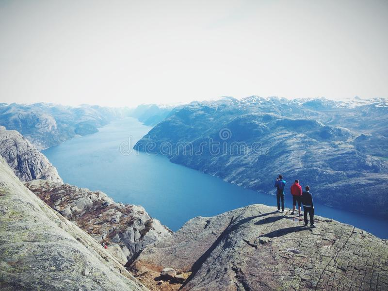 People on Top of Mountain Range royalty free stock photos