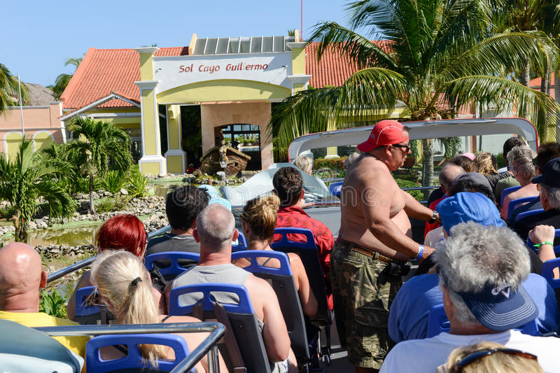People on a touristic bus at Cayo Guillermo, Cuba stock photos