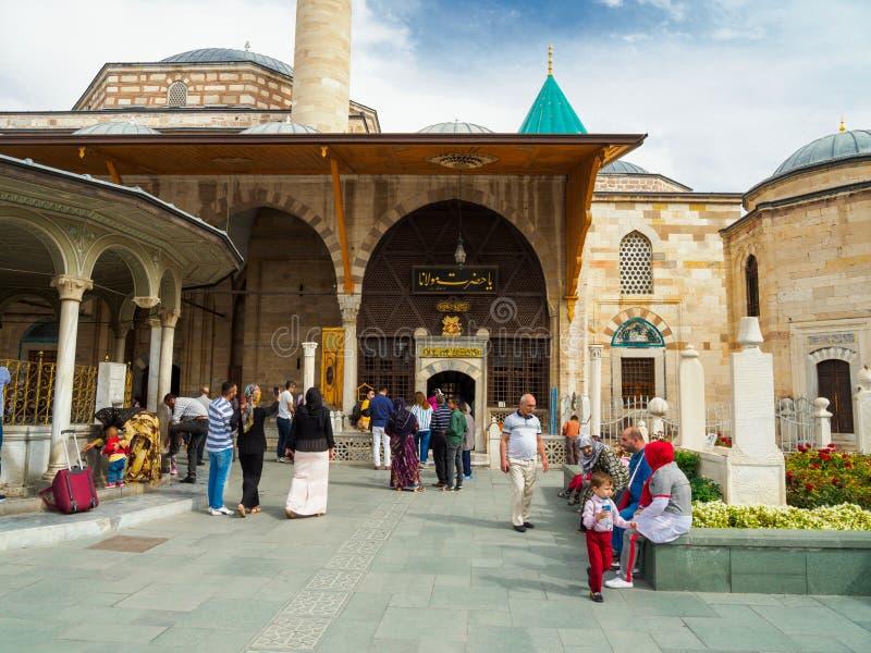 People and tourists visiting the Mevlana Museum in Konya city, Turkey. Konya, Turkey - October 08, 2018: People visiting the Mevlana Museum which is the stock image