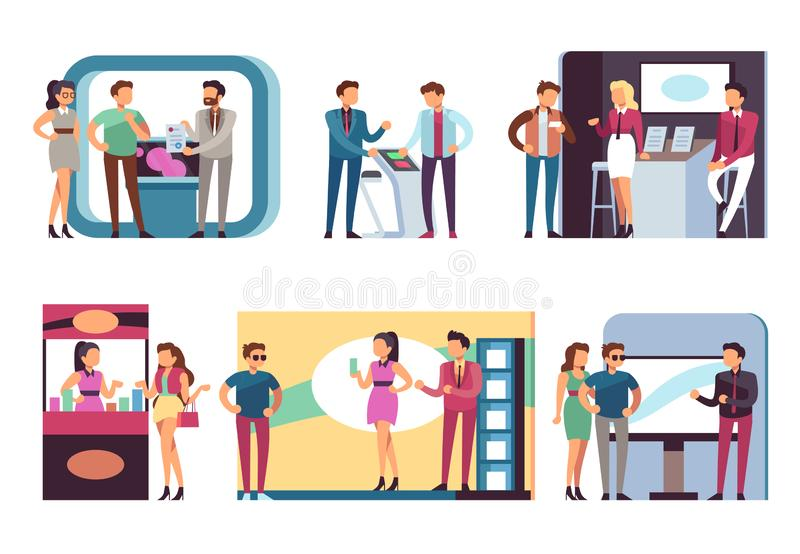 People at trade expo. Men and women at product demonstration stands and event booths on exhibition. Vector set royalty free illustration