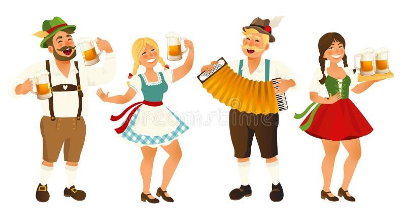 People in traditional German, Bavarian costume holding beer mugs, Oktoberfest, cartoon vector illustration isolated on. White background. Full length portrait vector illustration