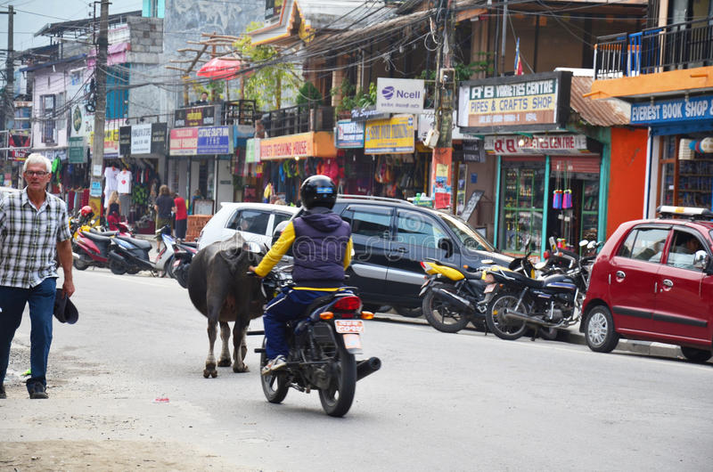 People and traffic on road at Pokhara street market royalty free stock images