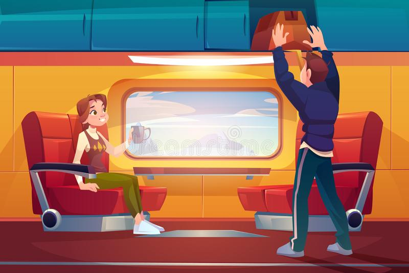 People in train, passengers travel by railway car vector illustration