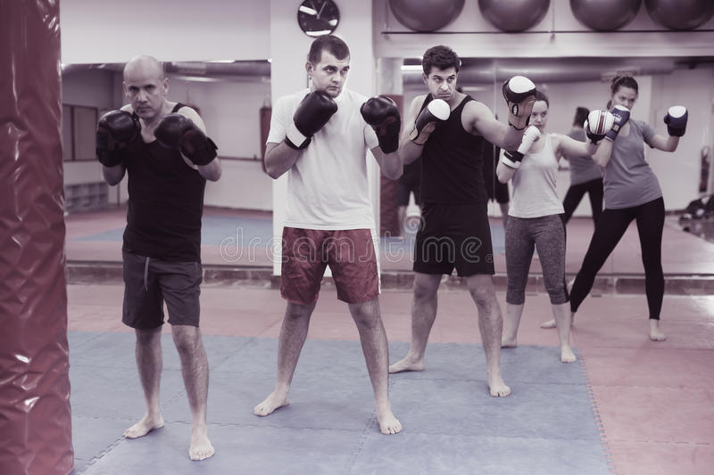 People training in gloves in the boxing hall stock photography