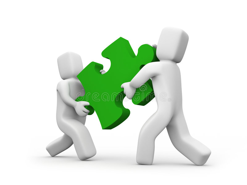 People Transfer A Puzzle - Teamwork Concept Royalty Free Stock Photo