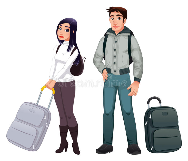 People in transit. Vector characters, isolated objects