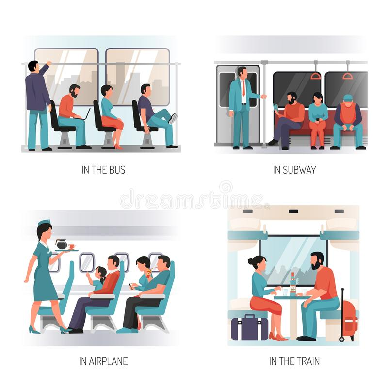 People Transport Flat Concept royalty free illustration