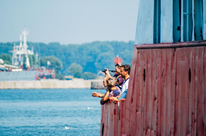 People transported on ferry Russia royalty free stock images