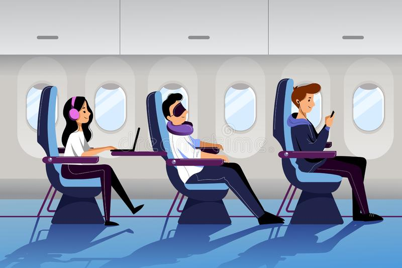 People travel by airplane in economy class. Plane interior with sleeping and working passengers. Vector flat cartoon illustration vector illustration