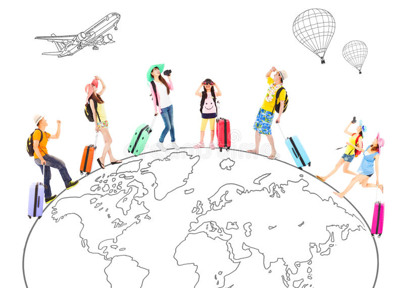 People travel around the world and Global concept. People travel around the world and Global map concept vector illustration